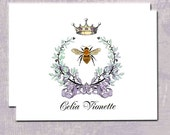 Napoleonic Bee Note Cards, Wreath With Bow, Bee, Crown, Custom Name or Initials, Symbol of French Empire, Personalized, French Note Cards