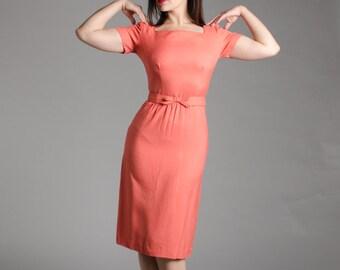 Vintage 50s Dress - 1950s Pencil Dress - Roslyn Heights Dress