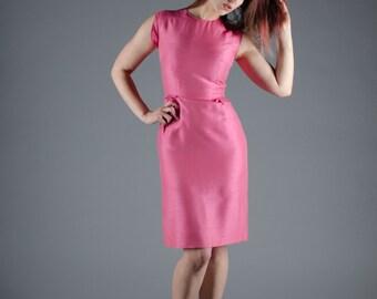 60s Silk Dress - Vintage 1960s Pink Dress - Smooth Moves Dress