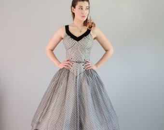 Vintage 1950s Gingham Dress - 50s Dress - Make it Right Dress