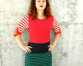 Women Sweater Knit Tshirt Dress Recycled Clothing Nautical Reconstructed Handmade Soft Knit Eco Friendly Stripes Green Red Blue Colorful M/L