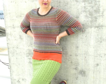 Upcycled Dress Upcycled Sweater Knit Upcycled Clothing Reconstructed Knit Eco Friendly Stripes Green Red Blue Orange Colorful Earth Tones M