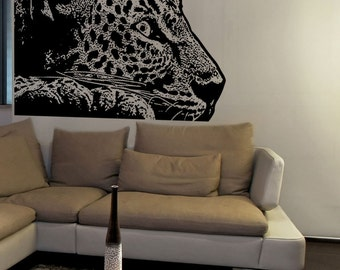 Vinyl Wall Art Decal Sticker Laying Leopard 5480s