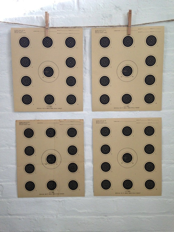 Set of 5 Vintage Graphic circular shooting Target