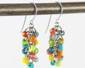 OUT OF TOWN - Tropical Cluster Earrings - Small Beaded Dangle Earrings - Colorful Teal Blue Turquoise Lime Green Orange Yellow Bright