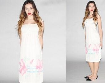 Vintage  White Floral Dress - 70s Floral  Dress  - The Andrea Dress - 10040