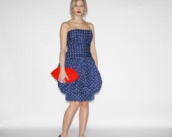 Vintage Polka Dot Prom Dress  - Vintage Party  Dress  - The Sock Hop Dress - Wd0305
