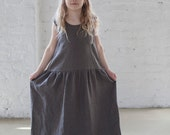 Linen dress Flower girls dress Summer maxi linen dress Girl long dress in Taupe