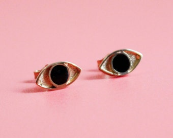 Cat's Eyes - Gold Plated Silver and Enamel Stud Earrings
