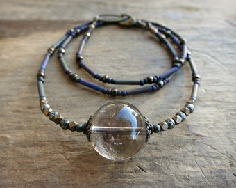 Smoky Quartz Sphere Necklace, rustic Bohemian gray brown quartz crystal necklace with iron pyrite, crystal ball jewelry