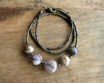 Rustic Stone Pebble Necklace, earthy neutral violet gray beaded necklace with iron pyrite accents, Bohemian jewelry