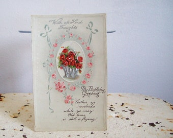 Antique postcard My Birthday Greeting Victorian embossed red roses pink roses silver ribbon printed in Germany unused Free shipping to USA
