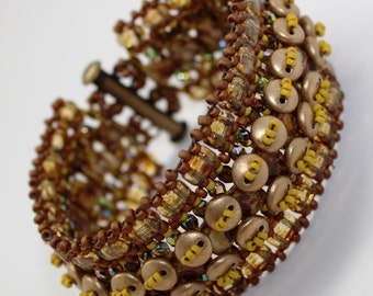 Picasso and Gold Lentil Path Bracelet with 3 Varieties of 2 Hole Beads