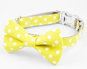 Bow Tie Dog Collar - Yellow Dots