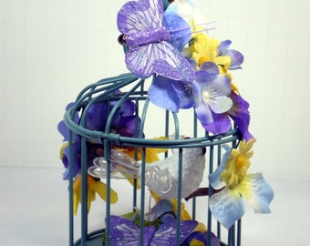Small Home Decor Blue Metal Bird Cage, Blue Metal Home Decor Floral Bird Cage