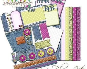 DENIM DAYS - Day Planner Kit - Hybrid Digital Full Kit - Printable - Instant Download