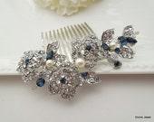 Rhinestone Hair Comb,Something Blue Bridal Hair Comb,Pearl Bridal Hair Comb,Ivory or White Pearls,Rhinestone Bridal Hair Comb,Pearl,PENNY