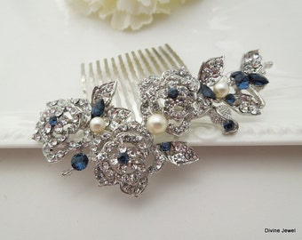 Blue Swarovski Crystal and Pearl Wedding Comb Wedding Hair Accessories Vintage Style Flower and Leaf Rhinestone Bridal Hair Comb PENNY