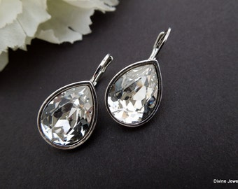 Bridal Earrings Swarovski Teardrop Crystal Earrings Chandelier Earrings crystal Rhinestone Earrings Wedding Statement Bridal Earrings ARIA