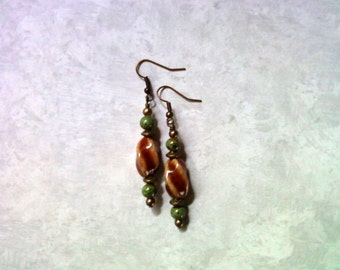 Red and Green Ceramic Earrings (1712)