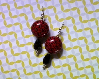 Red and Black Flower Earrings (2034)