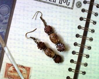 Earthy Brown Flower and Seed Earrings (1728)