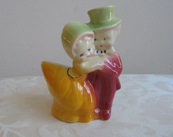 Vintage Ceramic Pottery Planter Cute Couple By FAPCO, Boy Top Hat Girl Bonnet, Wedding Anniversary Cake Topper, Yellow Green Burgundy