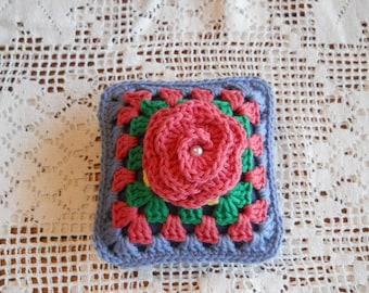 Pincushion, Granny Square Pin Cushion, Crochet Pin Cushion, Sewing Room Accessories, Gift for a Friend who Sews, Needle Organizer Cushion,