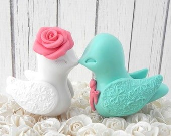 Love Bird Wedding Cake Topper, Coral, Mint, and White,  Bride and Groom Keepsake