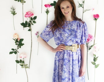 Claudia, French Vintage, 1970s Floral Midi Dress, from Paris
