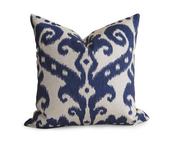 Pair of 2 Decorative Designer Ikat Pillow Covers - Navy Blue - 18 inch - IKAT - Linen Pillow - Toss Pillow - Accent Pillow - Throw Pillow