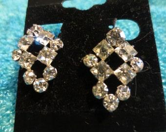 """Vintage screw on """"Phyllis"""" sterling cz earrings"""