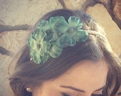 ONE LEFT! Turquoise and peach flower headband for women: nelly