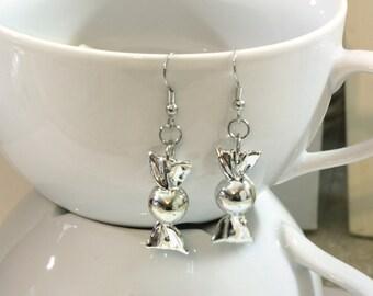 Silver Metallic Christmas Candy Repurposed Christmas Ornament Earrings - Christmas Earrings - Charm Earrings