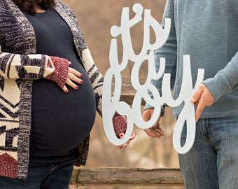 New Baby Maternity Photo Prop Sign It's a Boy - Maternity Photography Prop, It's a Boy New Baby for Pictures or Shower Decor (Item - MIG100)
