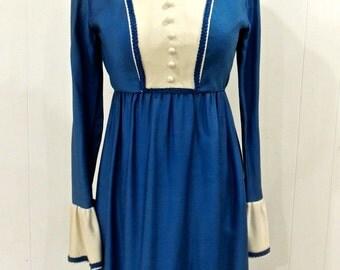vintage powder-blue maxi dress - 1960s-70s Lorrie Deb ruffled long dress