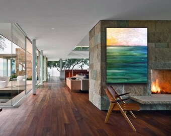 """30""""x40"""" Extra Large Original Abstract Painting Free Shipping Wall Art Guilford Green Canvas Vertical Landscape Seascape Katy Karnes"""
