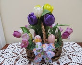 Easter Basket with Tulips and Decorated Easter Eggs