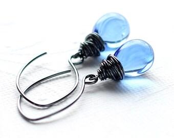Light Sky Blue Glass Earrings, Pale Blue Czech Glass Sterling Silver Wire Wrapped Teardrop, Oxidized Sterling Silver Earwires