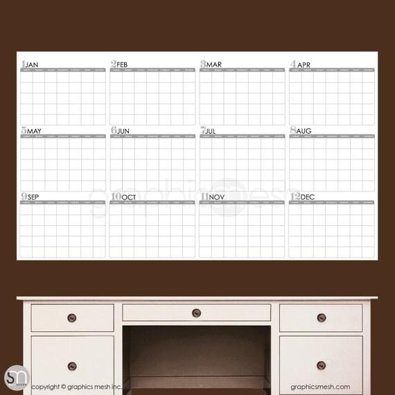 Year Calendar Dry Erase Board : Dry erase wall decal yearly blank calendar office interior