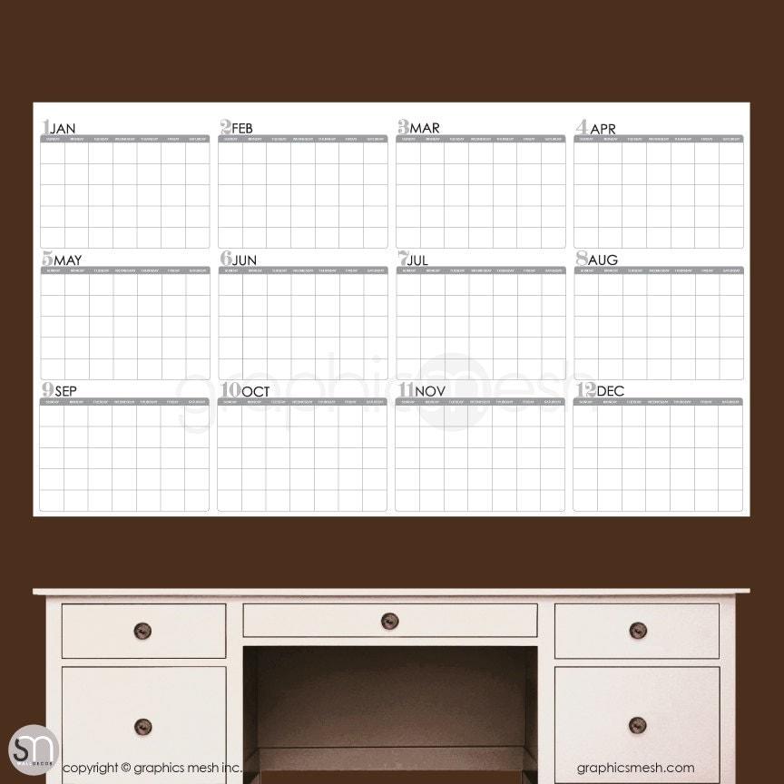 Year Calendar Dry Erase : Dry erase wall decal yearly blank calendar office interior