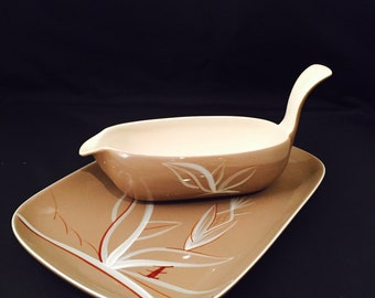 Vintage Winfield China, Desert Dawn,  Stick Handle Gravy Boat And Rectangular Platter, Earthenware, MCM