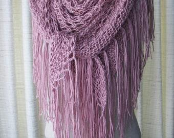 Victorian ROSE Hand Knit SHAWL Triangle Scarf SOFT Acrylic with fringes / Bridal Shawl / Dusty Rose Shawl