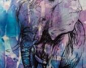 Elephant Study III  - Original recycled mixed media artwork