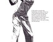 Golf pro lesson print, GOLF print of Backswing, 1960s illustration black line art
