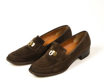 90s Ferragamo Sport Loafers Brown Suede Flats Casual Womens Shoes Sz 8