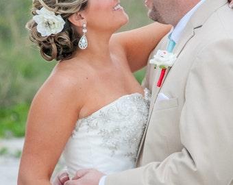Beach Wedding Hair Flower clip / bridal ivory hair flower rhinestone STARFISH with pearls flower hair clip pin comb