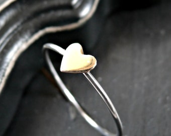 Sterling Silver and Bronze Heart Ring - Heart Ring - Dainty Heart Ring - Everyday Heart Ring - Sterling Silver Heart Ring