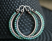 Green beaded hoops, oxidized copper, Toho seed bead, green, large, wire wrapped, Mimi Michele Jewelry