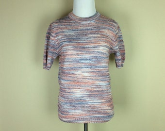 70s Space Dye Sweater / 1970s Short Sleeve Sweater / Orange Blue Shirt / Knit Pullover Top / Burt Barry M